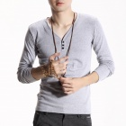 FENL Men's Fashionable Slim V-Neck Long Sleeve T-Shirt Tee - Light Grey (Size XL)