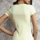 Women's Fashionable Lace Waistband Cap Sleeves Polyester Dress - Beige