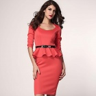 Three Quarter Sleeve Belted Peplum Polyester Dress - Red (Size L)