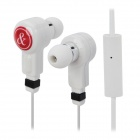 In-Ear Style 3.5mm Headphones w/ Microphone - White + Red