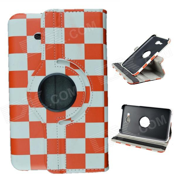 Plaid Pattern 360 Degrees Rotary PU Case w/ Stand for Samsung Galaxy Tab 3 Lite T110 / T111 - Red uk flag pattern 360 rotary protective pu case w stand for samsung galaxy tab s 10 5 t800