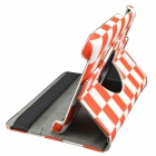 Plaid Pattern 360 Degrees Rotary PU Case w/ Stand for Samsung Galaxy Tab 3 Lite T110 / T111 - Red