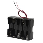 DIY 15V 10-Slot AA Battery Double Deck Holder Case / Box w/ Leads - Black