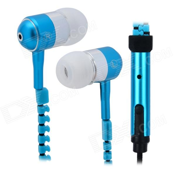 S-What Fashionable Zipper Style Cable 3.5mm In-Ear Headphones w/ Microphone - Blue + Silver