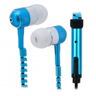 Buy S-What Fashionable Zipper Style Cable 3.5mm In-Ear Headphones Microphone - Blue + Silver