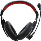 LEBU 3.5mm Wired Stereo Headband Headphone w/ Microphone - Black + Red