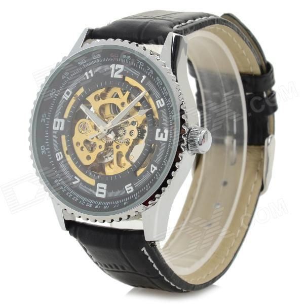 Shenhua 5952 Men's Stylish PU Band Analog Mechanical Wristwatch - Black + Silver + Golden (1000PCS)