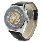Shenhua Men's Stylish PU Band Analog Mechanical Wristwatch - Black + Silver + Golden (1000PCS)