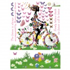Creative Spring Bicycle Girl Wall Sticker - Multicolored