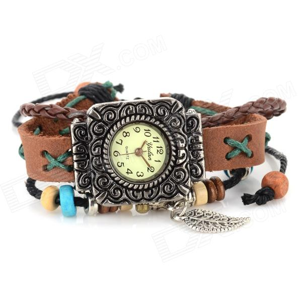 Retro Bracelet Style Leather Band Analog Quartz Wrist Watch - Coffee (1 X 377) stylish bracelet band quartz wrist watch golden silver 1 x 377