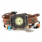 Retro Bracelet Style Leather Band Analog Quartz Wrist Watch - Coffee (1 X 377)