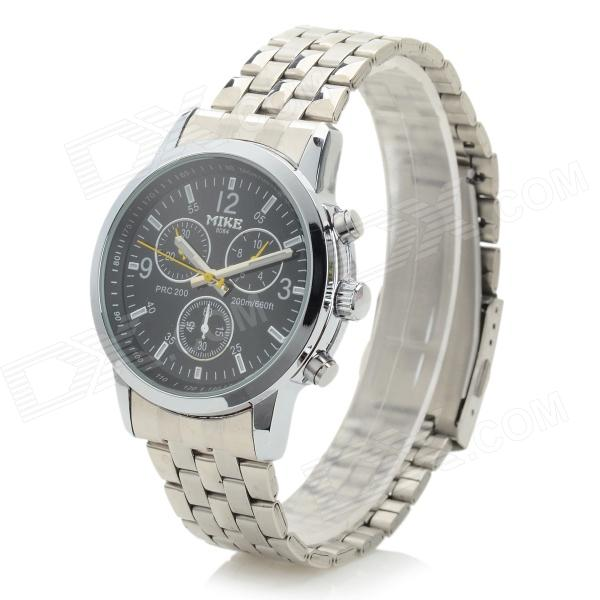 Men's Fashionable Stainless Steel Band Analog Quartz Wristwatch - Black + Silver (1 x LR626)