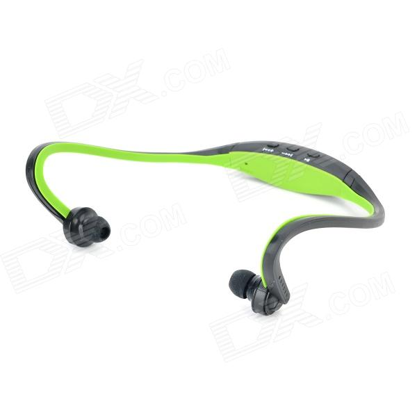 Sports Wireless Behind-the-Neck MP3 Headphones w/ TF / FM / USB - Black + GreenMP3 Players<br>Form ColorBlack + GreenBuilt-in Memory / RAMNoBrandN/AModelN/AQuantity1 DX.PCM.Model.AttributeModel.UnitMaterialABSShade Of ColorBlackScreen TypeOthers,N/ATouch Screen TypeNoScreen Size0 DX.PCM.Model.AttributeModel.UnitScreen Resolution0Screen Color0Memory Card TypeMicro SDMax Extended Capacity8GBAudio Compression FormatMP3VideoNoRecord Audio FormatNoImagesOthers,NoE-bookNOTuner BandsYesFM Frequency87.5~108MHzAM FrequencyNoHeadphone JackOthers,NoOther InterfaceMini 5-PinBattery Capacity500 DX.PCM.Model.AttributeModel.UnitWorking Time4 DX.PCM.Model.AttributeModel.UnitBattery TypeLi-ion batteryLoud Speaker Function NoLyrics DisplayNoMenu LanguageOthers,NoAudio ModeNaturalPacking List1 x MP3 player1 x Cable (50cm)1 x Micro SD / TF card reader<br>