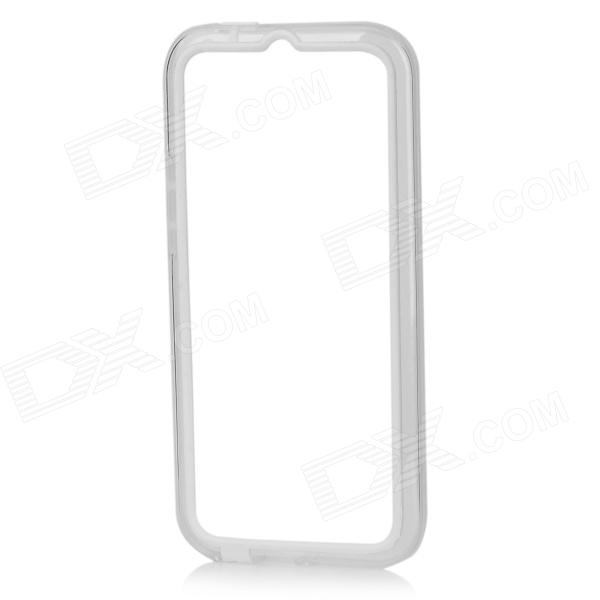 Protective TPU + PC Bumer Frame for HTC One M8 - White + Transparent