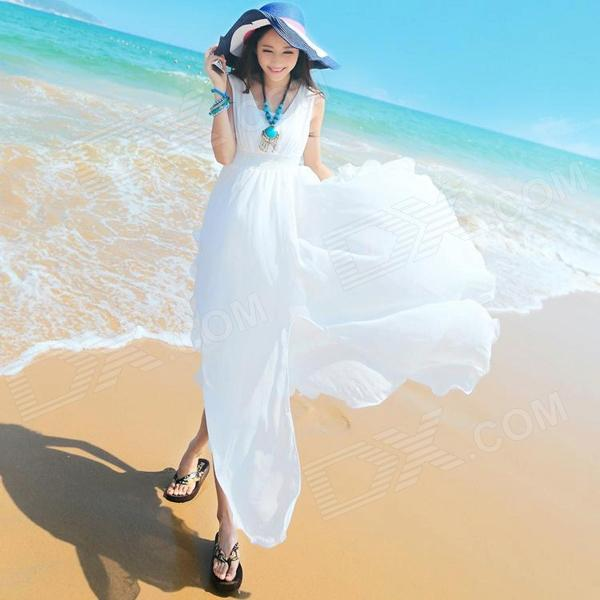 Ladies' Fashionable Slim Chiffon Dress - White (L)