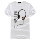 SLTV002 Men's Casual Earphone Pattern Short-sleeved Cotton +  Spandex T-Shirt - White (XL)