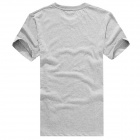 Men's Stylish Patterned Short-sleeved Cotton T-shirt - Grey (XL)
