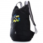 Tantuozhe Outdoor Foldable Water Resistant Double Shoulder Nylon Backpack Knapsack Bag - Black
