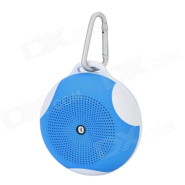 Universal Bluetooth V2.1 2.0-CH Speaker w/ FM / TF / Carabiner / Microphone - Blue + White
