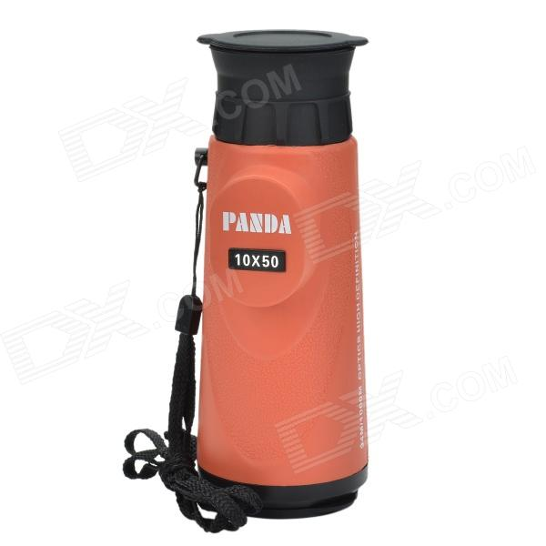 Panda 10X 50mm Waterproof Monocular Telescope w/ High Resolution Large Eyepiece - Orange + Black
