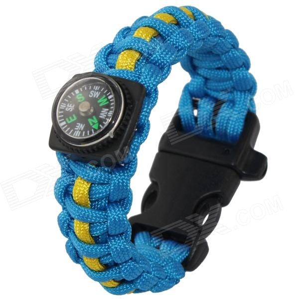 Bracelet Style Outdoor Survival Emergency Rope w/ Compass / Whistle - Blue + Yellow