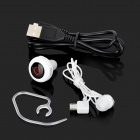1-to-2 V4.0 Bluetooth In-Ear inteligente de voz Caller ID Música Headset w / Ear Hook / Mic./ USB - Preto
