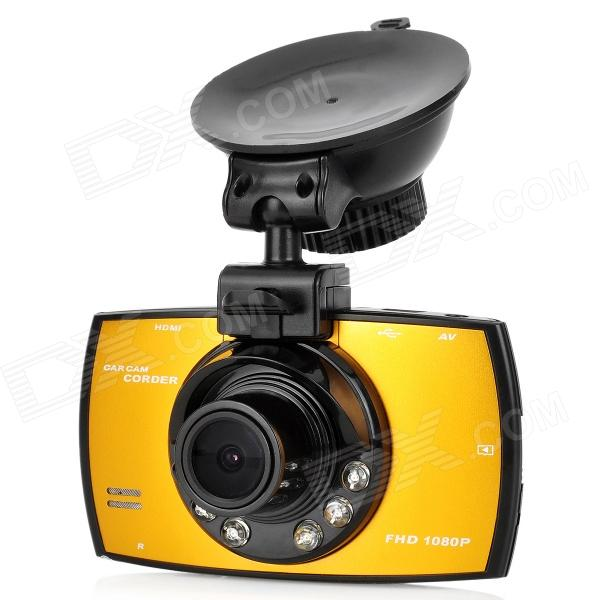 P-1080 2.7 TFT Screen 1/2.7 CMOS 1.8MP Car DVR w/ 6-IR-LED / G-sensor - Black + Golden (3.7V)