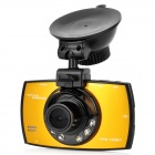"P-1080 2.7"" TFT Screen 1/2.7"" CMOS 1.8MP Car DVR w/ 6-IR-LED / G-sensor - Black + Golden (3.7V)"