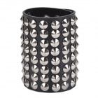 Punk Style Rivets Leather Wristlets Bracelet - Black + Silver