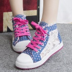 Women's Casual Laceup Flowers Pattern Canvas Shoes - Blue + Deep Pink + White (EUR Size 38)