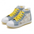 Women's Casual Laceup Flowers Pattern Canvas Shoes - Blue + Yellow + White (EUR Size 39)