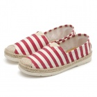 Women's Casual Stripe Pattern Canvas Shoes - Red + White (EUR Size 39)