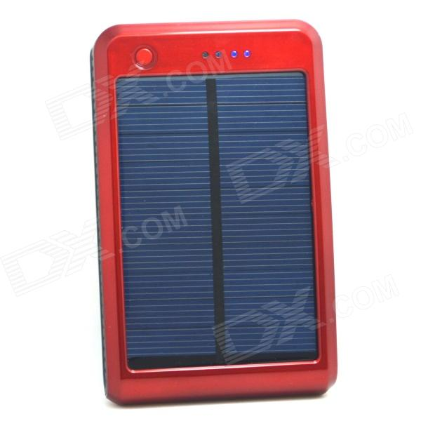 Portable 15000mAh Li-polymer Battery Dual-USB Solar Powered Power Bank w/ LED Indicator - Red sony cp s15 s 15000 mah