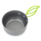 DS-101 Outdoor Aluminum Cooking Pot Set for Camping / Travel / Cycling / Picnic - Grey + Green