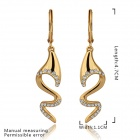 Women's Fashionable Snake Shaped Gold Plated Rhinestone Inlaid Earrings - Golden (Pair)