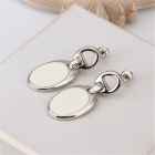 Fashionable Zinc Alloy Round Shaped Earrings for Women - Silver + White (Pair)