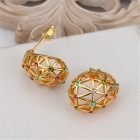 Women's Water-Drop Net Shaped Gold Plated Rhinestone Inlaid Earrings - Golden + Multicolored (Pair)