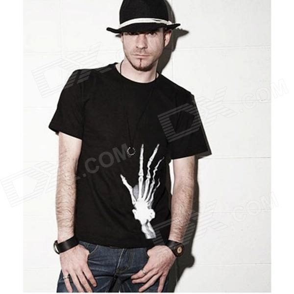 Men's Skeleton Hand Pattern Short Sleeves Cotton T-Shirt - Black (Size L)