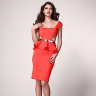 Fashionable Side Hollow Out Side Style Slim Peplum Dress - Red (Size L)