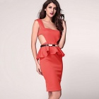 Side moda Hollow Out Side estilo delgado Peplum vestido - Rojo (Talla L)