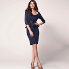 Three Quarter Sleeve Belted Peplum Slim Polyester Dress - Deep Blue (Size L)