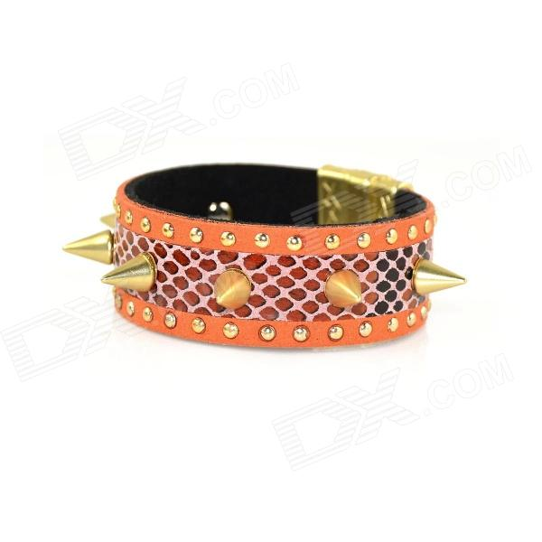IN-Color Fashionable Punk Style Golden Rivet Bracelet - Orange 7 16 gx12 aviation circular connector 2 pin 3pin 4pin 5pin 6pin 7pin male plug