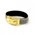 IN-Color Rhinestone Studded Belt Buckle Bracelet for Women - Silver + Golden