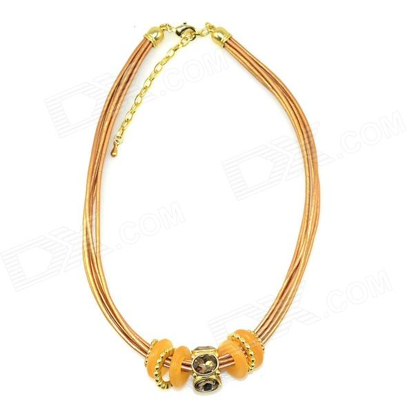 IN-Color Womens Fashionable Rhinestone Inlaid Leather + Zinc Alloy Necklace - Yellow + Golden - DXNecklaces<br>Color Yellow + Golden Brand IN-Color Model AF75192 Quantity 1 Piece Shade Of Color Yellow Gender Women Suitable for Adults Chain Material Leather + zinc alloy Pendant Material Leather + zinc alloy Chain Length 40 cm Chain Width 2 cm Other Features Leather cord necklace (chain width 0.7cm). Packing List 1 x Necklace<br>