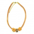 IN-Color Women's Fashionable Rhinestone Inlaid Leather + Zinc Alloy Necklace - Yellow + Golden