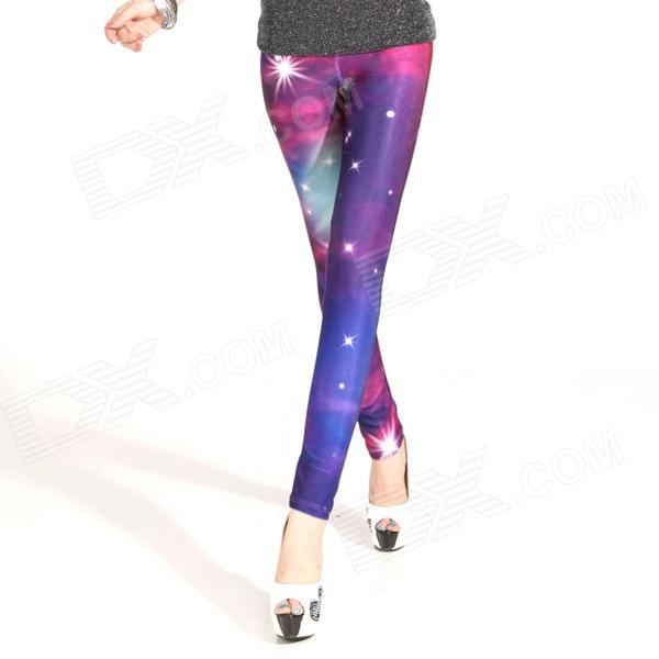 Elonbo Women's Fashionable Galaxy Pattern Sexy Tight Leggings Pants - Purple + Red
