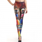 Elonbo Minority Style Digital Painting Tight Leggings Pants for Women - Red + Multi-Colored