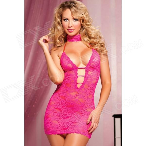 Sexy Plunge Neckline Backless Lace Lingerie Dress + Eyeshade + Underpants - Deep PinkSexy Lingerie<br>Color Dark Pink Quantity 1 Piece Shade Of Color Pink Material Lace Style OthersSexy Cup type OthersFree size Bust 74 cm Waist Girth 82 cm Packing List 1 x Dress 1 x Blinder 1 x Underpants<br>