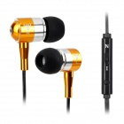BSBESTE Q12 3.5mm Jack Wired Glow-in-the-dark Earphone w/ Microphone - Black + Golden