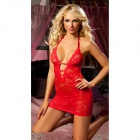 Sexy Plunge Neckline Backless Lace Lingerie Dress + Eyeshade + Underpants - Red